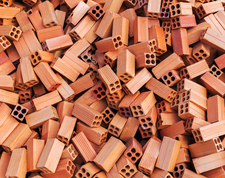 bricks Asia, square construction materials stack background