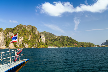 boat and island in Krabi Thailand