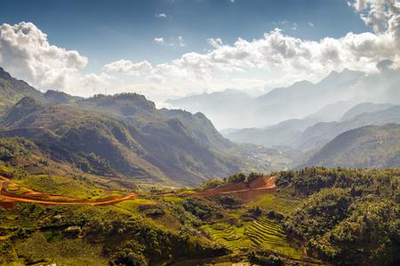 bali province: Terraced Rice Field hill Sa Pa. Lao cai province northern Vietnam Stock Photo