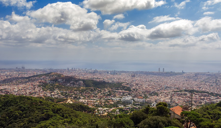 Barcelona skyline. Panoramic view a summer day in Spain.