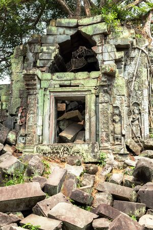 woodland sculpture: Ruins of Beng Mealea Temple, Angkor, Cambodia Stock Photo