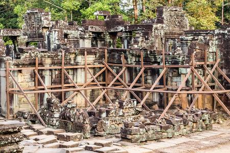 statuary: ruin Bayon Temple Angkor Thom, Cambodia. Ancient Khmer architecture.