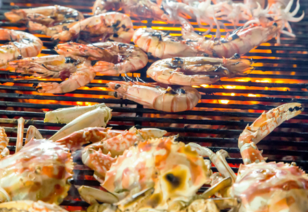 crab meat: Grill prawn cooking crabs seafood. background eat Restaurant