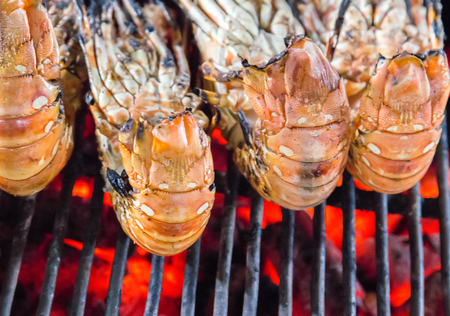 coal fish: BBQ lobster prepared Grill cooking seafood Stock Photo