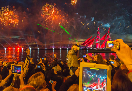 salut: St.Petersburg, June 21, 2014: Celebration Scarlet Sails show during the White Nights Festival in St.Petersburg, Russia