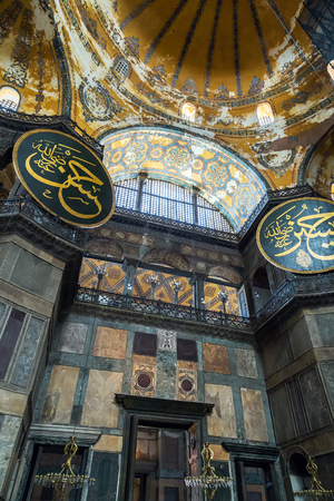 aya sofia: ISTANBUL, TURKEY - 1 MAY, 2014: Interior of the Hagia Sofia Mosque. The Church of the Holy Wisdom, known as Hagia Sophia in Greek, Sancta Sophia in Latin, and Ayasofya or Aya Sofya in Turkish, is a former Byzantine church and former Ottoman mosque in Ista Editorial