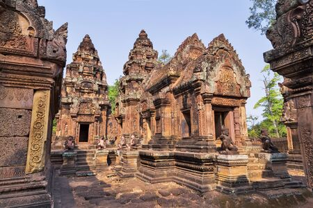 temple tower: Banteai Srei temple, the temple of women, near Angkor wat, Siem Reap, Cambodia Stock Photo