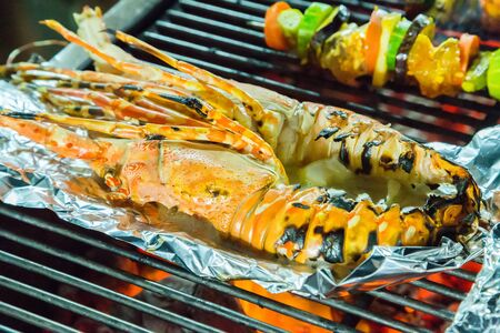 prepared: lobster prepared Grill cooking seafood BBQ Stock Photo