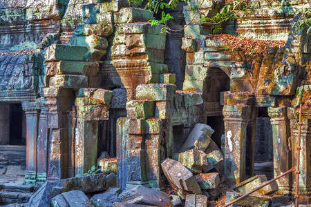 angkor wat: Ruins stone of Angkor Wat, part of Khmer temple complex, Asia. Siem Reap, Cambodia. Ancient Khmer architecture in jungle.