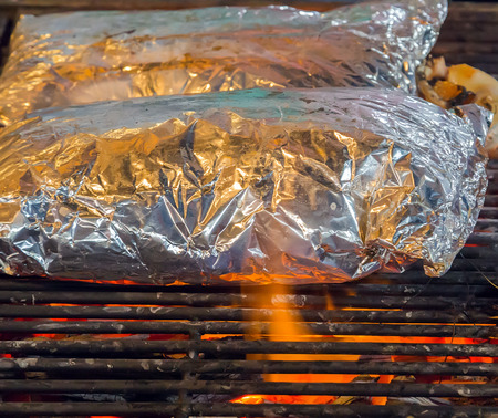 coal fish: Grill food. Background eat Barbecue