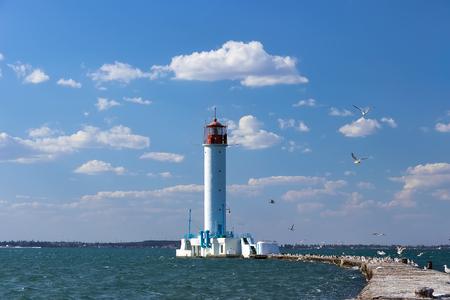 navigational light: Vintage Lighthouse in Odessa harbor, Ukraine