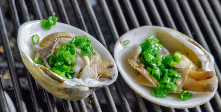 mollusk: Grill mollusk, mussel cooking seafood street food and beach bbq