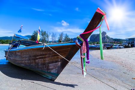 adventure sun paradise tropical island beach long tail boats Thailand.