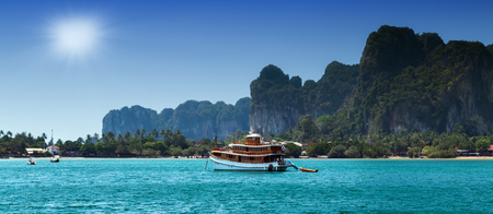 pristine coral reef: thailand boat of paradise tropical island beach