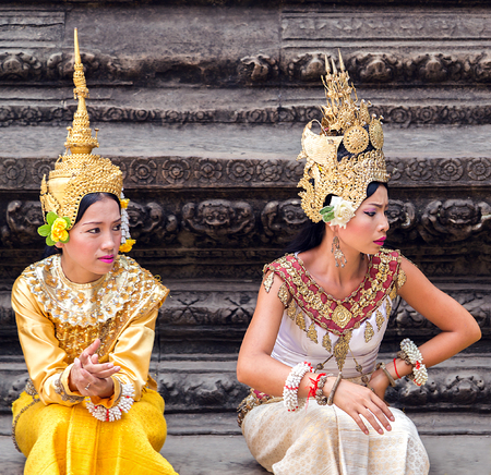 Cambodia - MARCH 01: Aspara dancers cambodians in national dress poses for tourists in Angkor Wat, March 01, 2015 on Siem Reap, Cambodia.