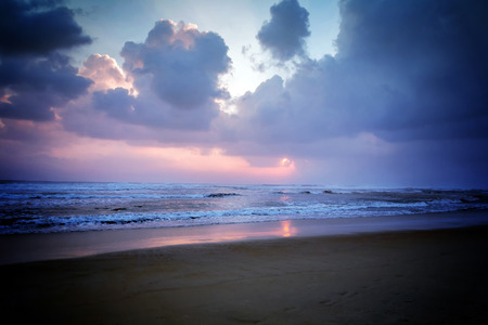 sunrise ocean: sunrise over ocean with beach background, Nature composition cloudscape