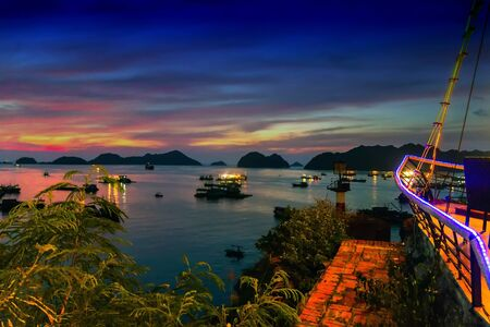 cat island: sailing and sunset sunrise summer. Ha Long Bay, Cat Ba Island, Vietnam