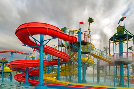 water   slide: Waterpark in luxury tropical resort, water slide