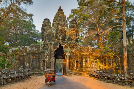 woodland sculpture: Morning in Ruins of Angkor Wat, part of Khmer temple complex, Asia. Siem Reap, Cambodia. Ancient Khmer architecture in jungle.
