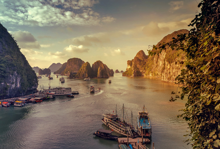 long lake: junk Ha Long Bay Ships Vietnam Unesco World Most popular place.