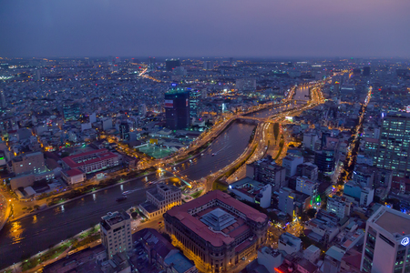 ariel: Ariel view Saigon downtown river night city