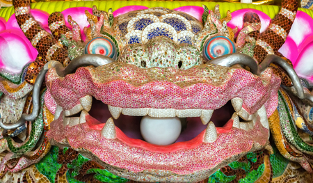 chinese new year dragon: Dragon sculpture with pearl in mouth Stock Photo