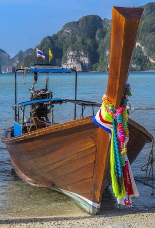 Traditional thai Boats on beach island journey Thailand