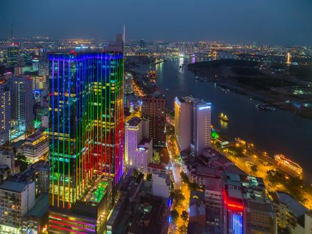 nachtcityscape Ho Chi Minhstad Vietnam, Saigon binnenstad