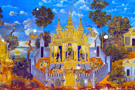 kampuchea: Painted wall on religious subjects, describing history of the Kampuchea in Royal Palace in Phnom Penh, Cambodia