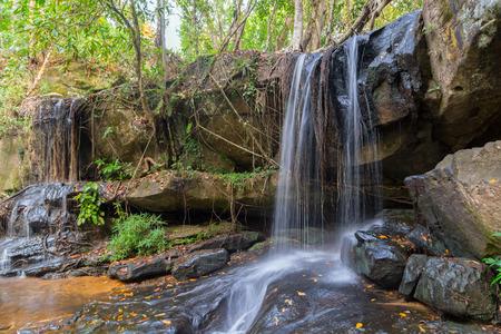 kampuchea: Waterfall nature in the Rain Forest kampuchea, Phnom Kulen National Park in Cambodia.