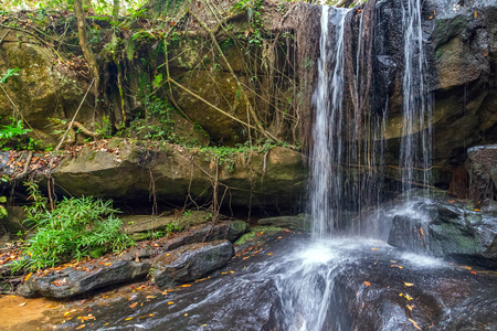 kampuchea: Nature Waterfall in the Rain Forest, Phnom Kulen National Park in kampuchea.