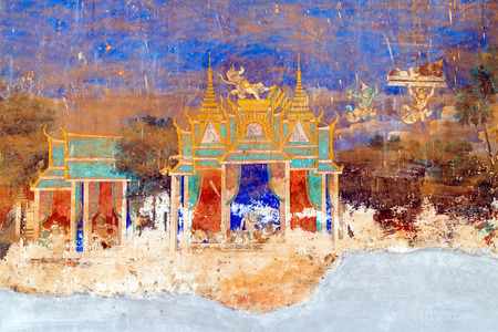 describing: Painted wall on religious subjects, describing history of the Kampuchea in Royal Palace in Phnom Penh, Cambodia