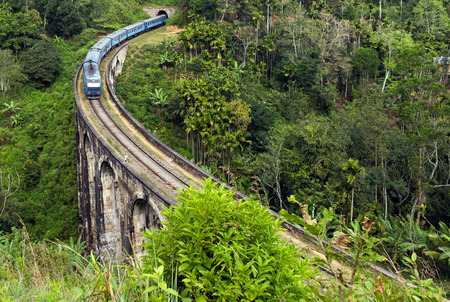 train in Rail road tunnel Demodara Nine Arch Bridge, Gotuwala, Ella, Sri Lanka