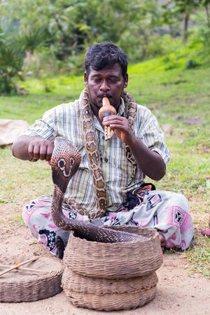 charmer: POLONNARUWA, SRI LANKA - JANUARY 31, 2016: Snake charmer adult man playing on musical instrument before snake at a old basket