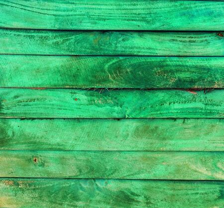 painted wood: green wood plank panels painted colors background Stock Photo