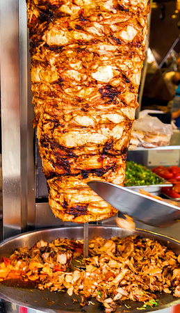 doner kebab cutting hen turkey