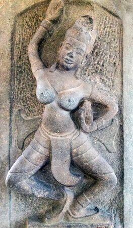 apsara: Apsara Dancers Stone Carving Wall Stock Photo