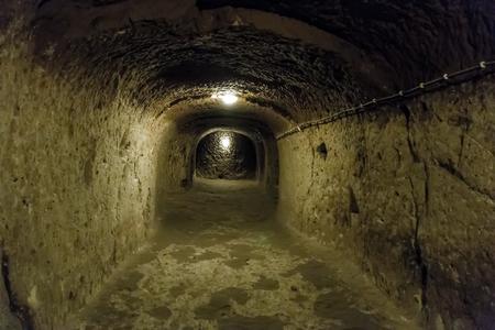 subterranean: Derinkuyu underground city cave, Cappadocia in Central Anatolia, Turkey Corridor in the Selime rock monastery, Ilhara Valley, Turkey