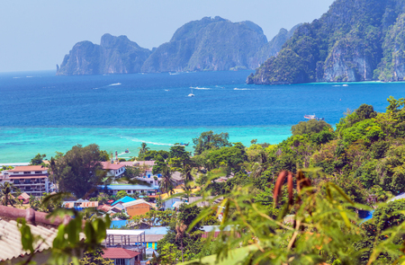 View Point Koh Phi Phi Don in  beach andaman sea, Phuket, Krabi, South of Thailand. Stock Photo