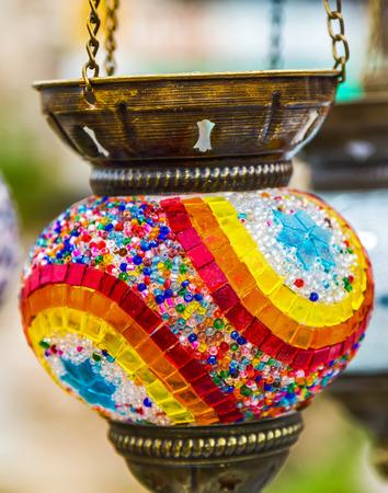 illuminated: Hanging colorful arabic lamps illuminated