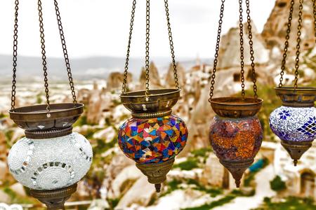 Hanging colorful arabic lamps illuminated