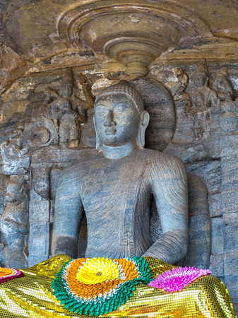 gal: Statue buddhism at Gal Vihara of Polonnaruwa remains as the royal ancient city of the capital city by Kingdom of Polonnaruwa of Ceylon, Sri Lanka.