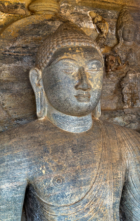 vihara: Buddha statue close up at Gal Vihara, Polonnaruwa of Ceylon, Sri Lanka.