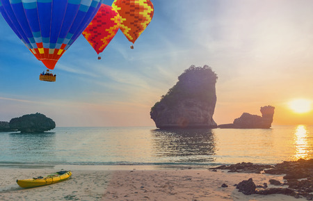 journey summer Sunset Nui Bay Beach, Thailand, Krabi province Andaman sea, vintage nature background