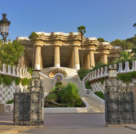 parc: Parc Guell - park city Barcelona designed by Antoni Gaudi