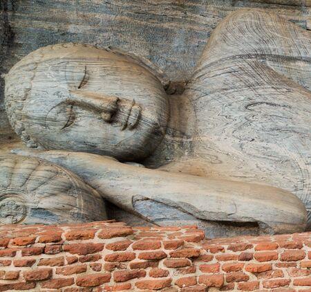gal: Statue at Gal Vihara of Polonnaruwa remains as the royal ancient city of the capital city by Kingdom of Polonnaruwa of Ceylon, Sri Lanka. Stock Photo
