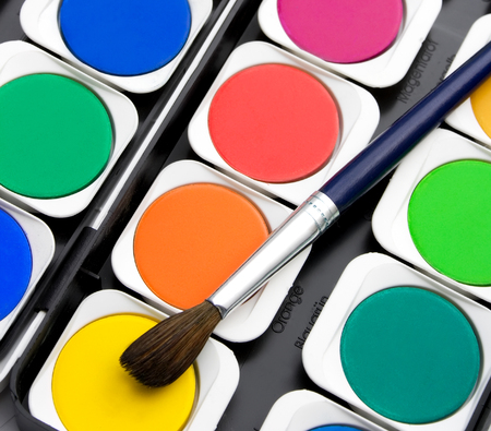 Brushes with colorful paints Set of multicolored watercolor