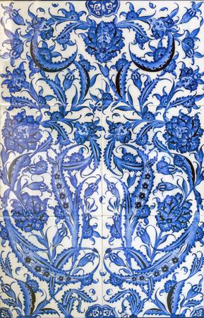 ceramic tile: Textured ancient blue artistic mosaic tiles decor flower. Blue ceramic tile surface textures.