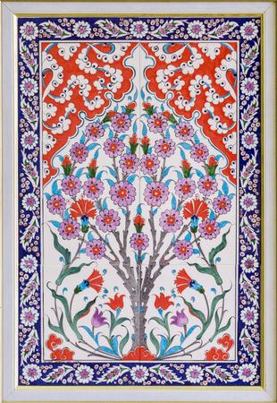 ceramic tile: ceramic tile Turkish decor flower stone Stock Photo