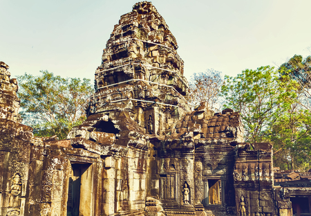 woodland sculpture: archaeology Ruins of Angkor Wat, part of Khmer temple complex, Asia. Siem Reap, Cambodia. Ancient Khmer architecture in jungle. Stock Photo